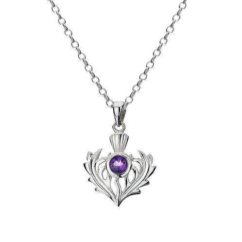 Silver Pendant Thistle with Amethyst