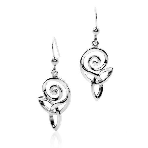Silver Earrings Celtic Spiral Trinity Knot