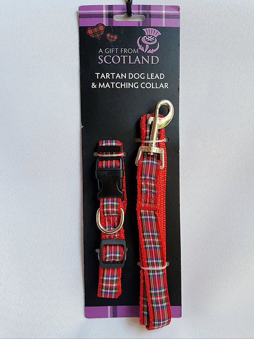 Red Tartan Dog Lead & Matching Collar