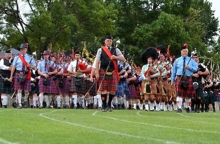 massed pipe band parade at maryborough highland gathering