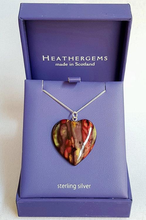 Heathergems Sterling Silver Large Heart Pendant Necklace