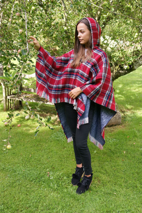 Red or Blue Tartan Hooded Poncho