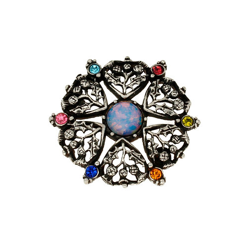 Miracle Thistle Heart Crystal Brooch