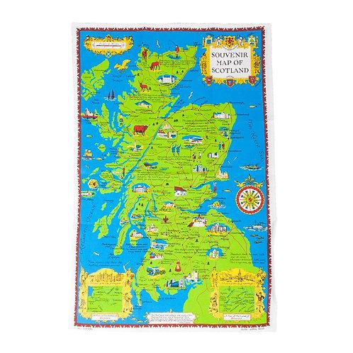 Souvenir Map of Scotland Tea Towel
