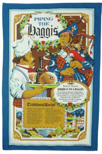 Piping the Haggis Tea Towel