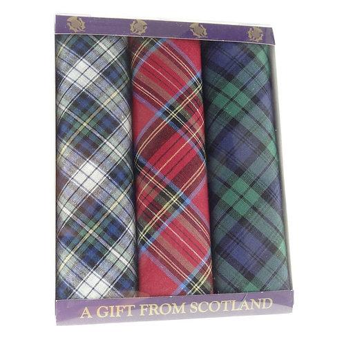 Pack of 3 Tartan Gents Handkerchiefs