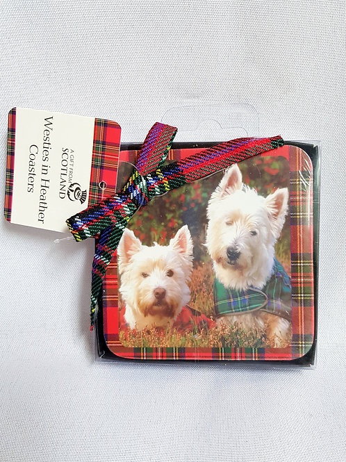 Red Tartan Westies Coasters