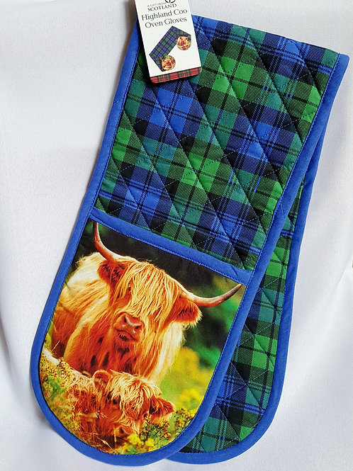 Highland Coo Double Oven Gloves