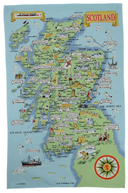 Map of Scotland Tea Towel