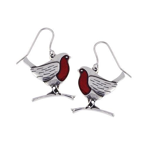 Robin Earrings With Red Enamel
