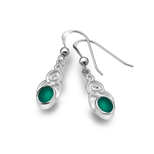 Green Agate Celtic Knotwork Earrings