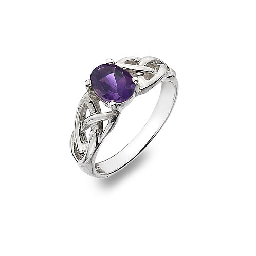 Silver Ring Celtic Trinity Knot with Amethyst