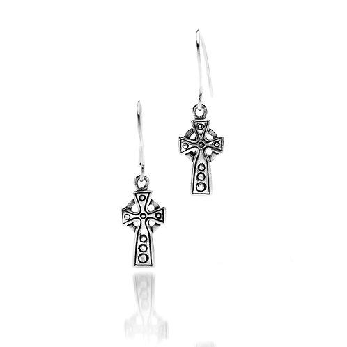 Silver Earrings Celtic Cross Small