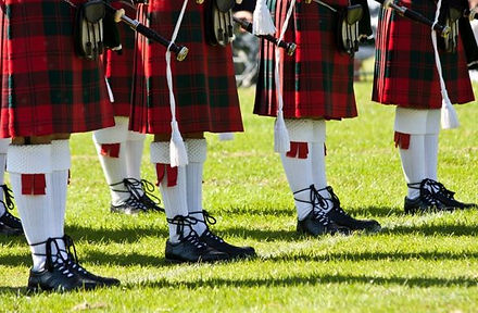pipers in kilts at saltire estate