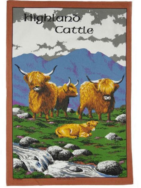 Highland Cattle Tea Towel