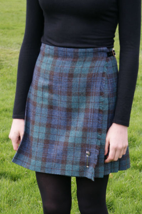 Ladies Flora Shetland Wool Kilt - Antique Black Watch