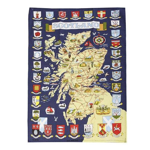 Town Crest Map Tea Towel