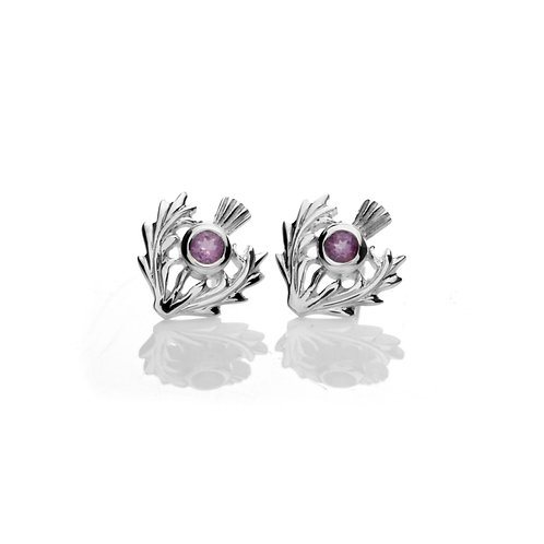 Silver Studs Thistle with Amethyst