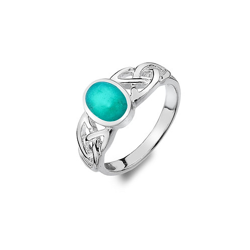 Silver Ring Celtic Trinity Knot with Turquoise