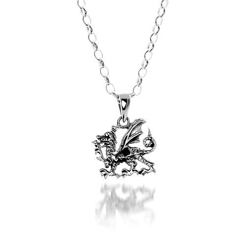 Silver Pendant Celtic Welsh Dragon Small