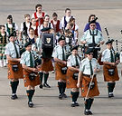 pipe band marching in parade