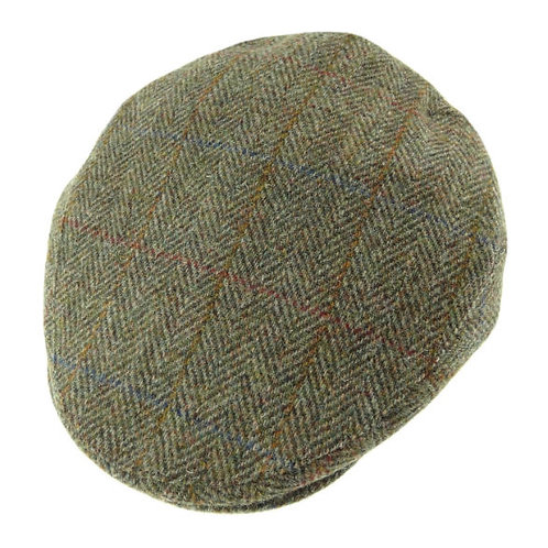 Harris Tweed County Cap Green Herringbone