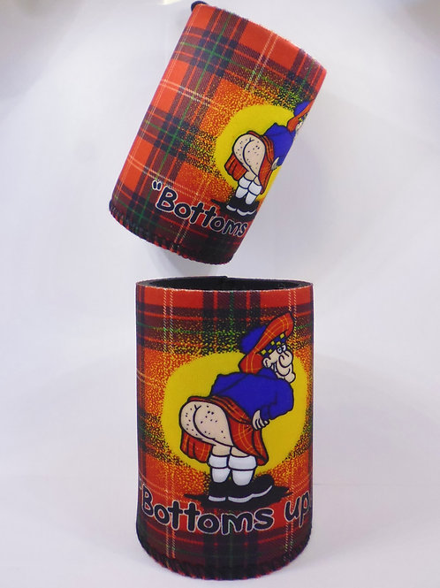 Bottoms Up Tartan Can Cooler