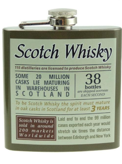 6oz Scotch Whisky Facts Hip Flask