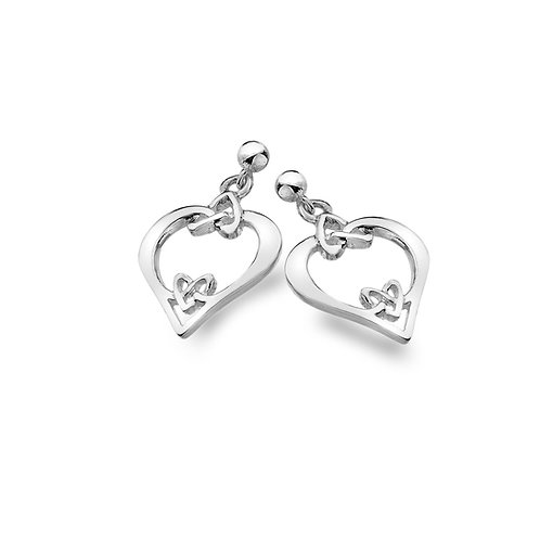 Silver Studs Celtic Heart with Heart Knots