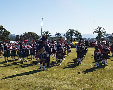 Massed band at Wingham Scottish Festival