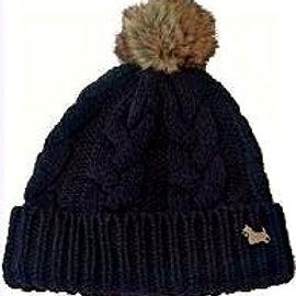 Cable Knit Scottie Black Beanie Hat