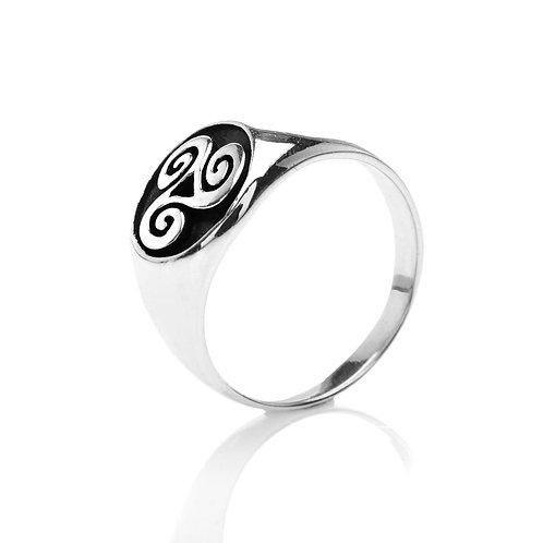 Silver Ring Celtic Triskele Signet Large
