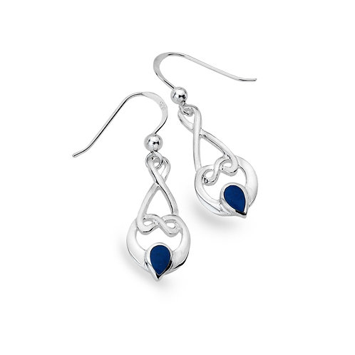 Silver Earrings Celtic Loop Knot with Lapis