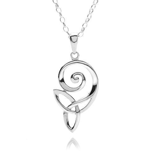 Silver Pendant Celtic Spiral Trinity Knot