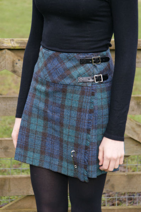 Ladies Isobel Shetland Wool Kilt - Antique Black Watch