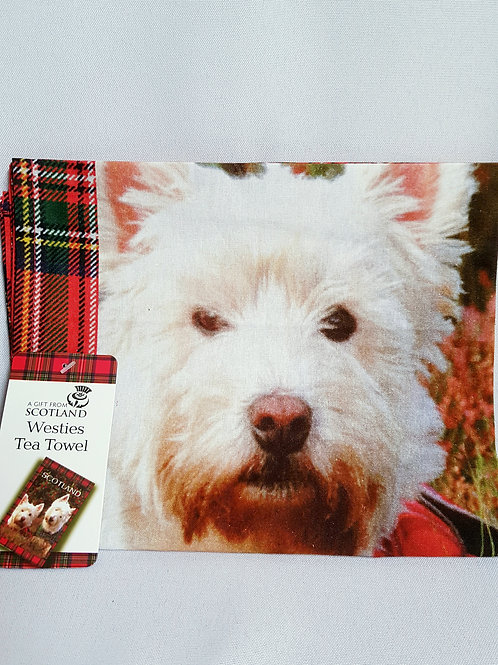 Red Tartan Westies Tea Towel