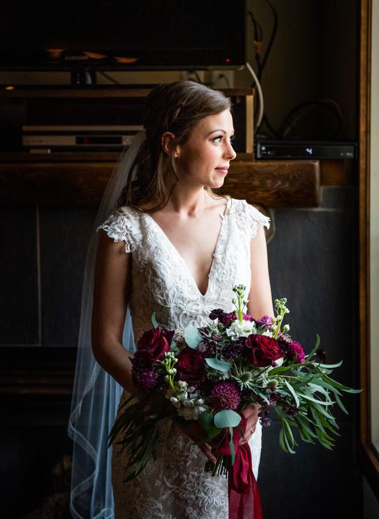 Merlot Winter Wedding Bouquet