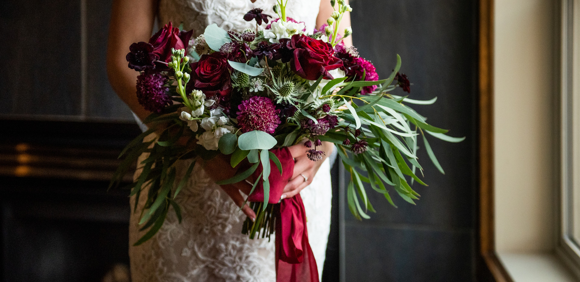 Merlot Winter Wedding Bouquet