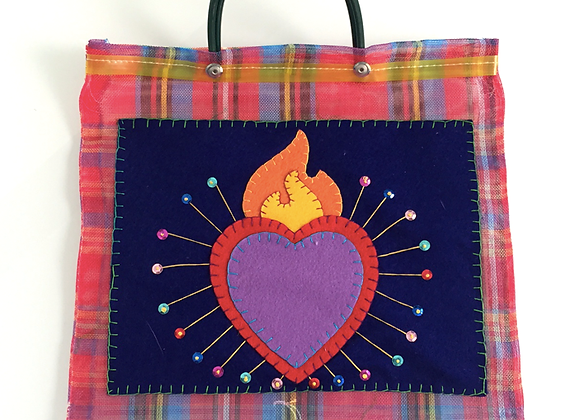 FLAMING HEART Market Bag