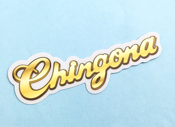 CHINGONA gold name plate, vinyl sticker