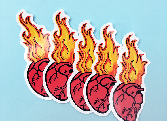 FLAMING HEART, vinyl sticker (5 PACK)