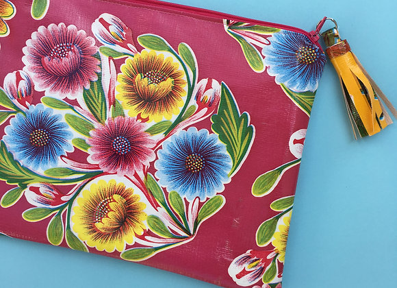 FLORAL Oilcloth clutch bag