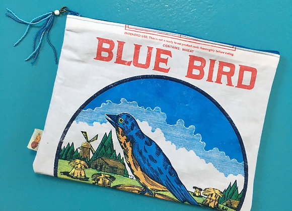 BLUE BIRD Zip Clutch