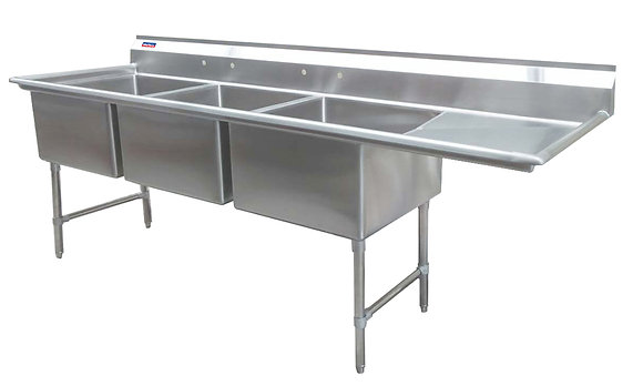 "78.5"" x 23.5"" x 36"" 3 Compartment Sinks (Advance Duty) - Right Drainboard"