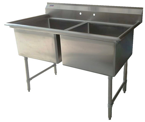 "47"" x 25.5"" x 36"" 2 Compartment Sinks (Advance Duty) - No Drainboard"