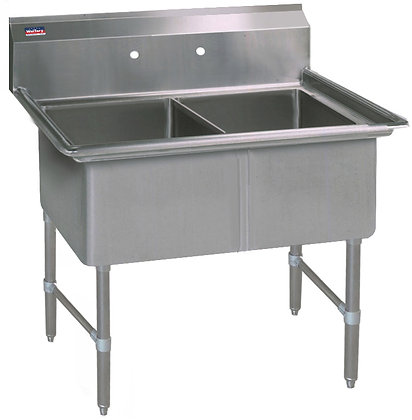 "45"" x 25.5"" x 36"" 2 Compartment Sinks (Heavy Duty) - No Drainboard"