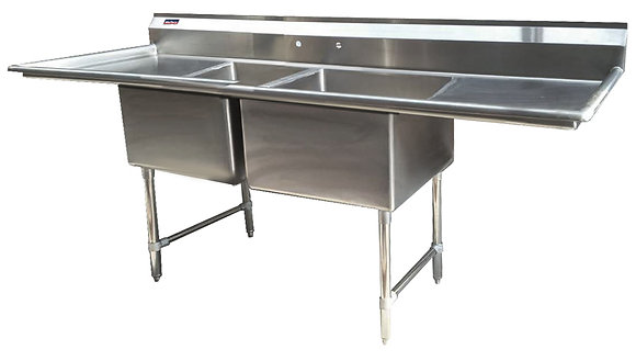 "98"" x 29.5"" x 36"" 2 Compartment Sinks (Advance Duty) - Left and Right Drainboard"