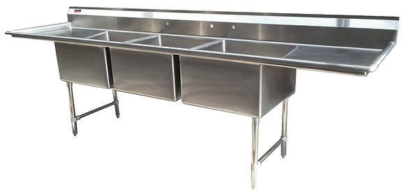 "104"" 3 Compartment Sinks (Advance Duty) - Left and Right Drainboard"