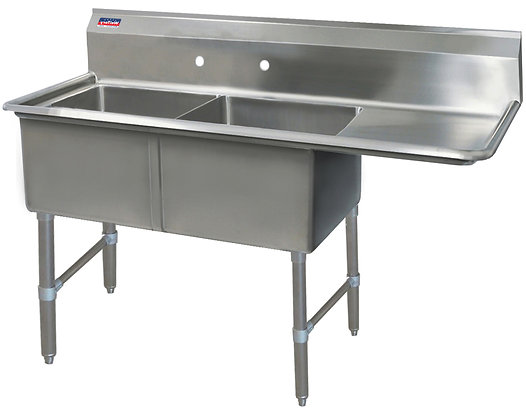 "62.5"" x 25.5"" x 36"" 2 Compartment Sinks (Heavy Duty) - Right Drainboard"