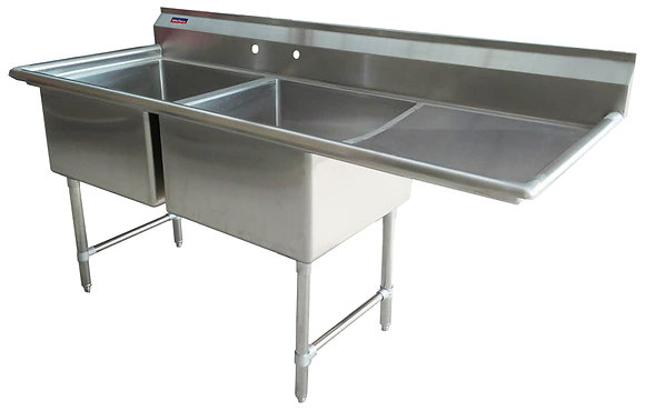 "64.5"" x 25.5"" x 36"" 2 Compartment Sinks (Advance Duty) - Right Drainboard"